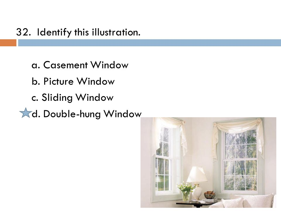 32. Identify this illustration. a. Casement Window b.