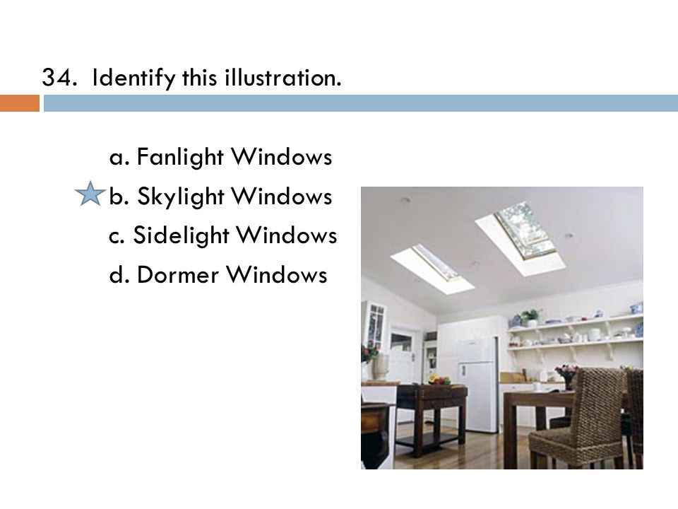34. Identify this illustration. a. Fanlight Windows b.
