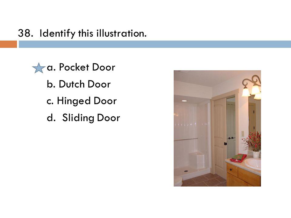38. Identify this illustration. a. Pocket Door b. Dutch Door c. Hinged Door d. Sliding Door