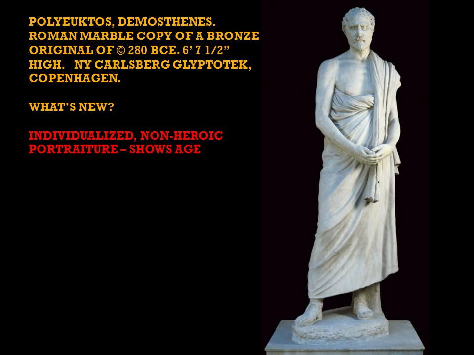 POLYEUKTOS, DEMOSTHENES. ROMAN MARBLE COPY OF A BRONZE ORIGINAL OF © 280 BCE.