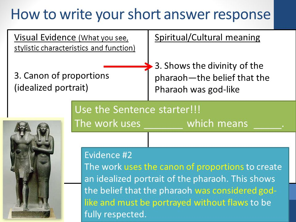 How to write your short answer response Visual Evidence (What you see, stylistic characteristics and function) 3.