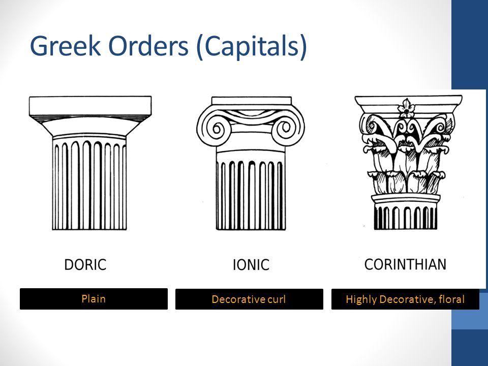 Greek Orders (Capitals) Plain Decorative curlHighly Decorative, floral