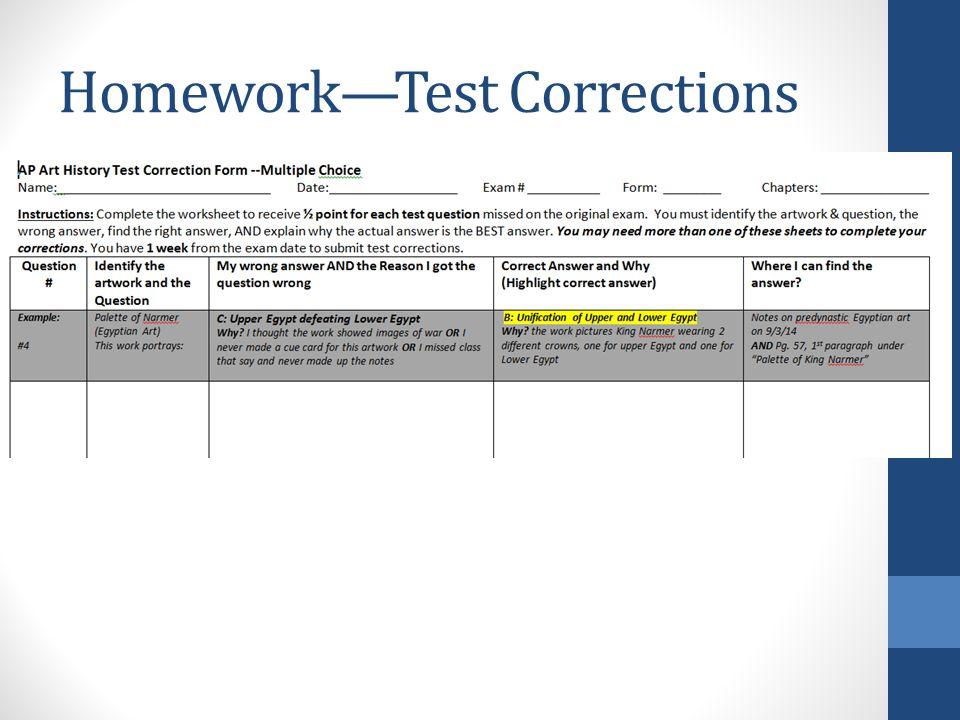 Homework—Test Corrections