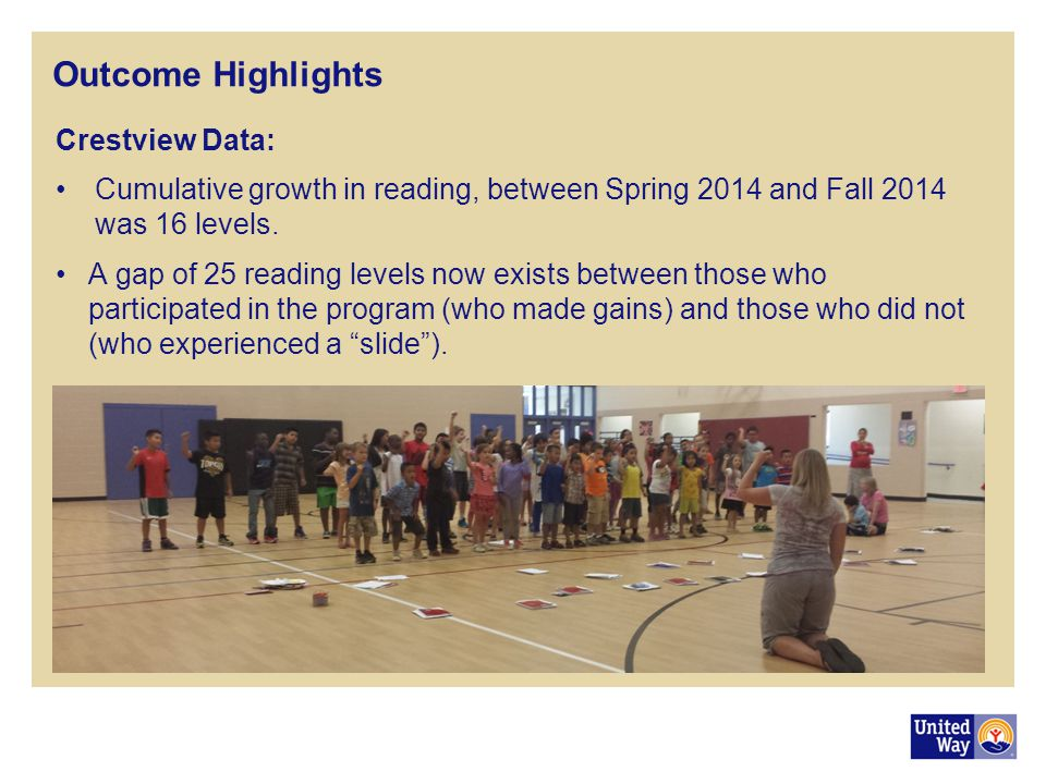Outcome Highlights Crestview Data: Cumulative growth in reading, between Spring 2014 and Fall 2014 was 16 levels.