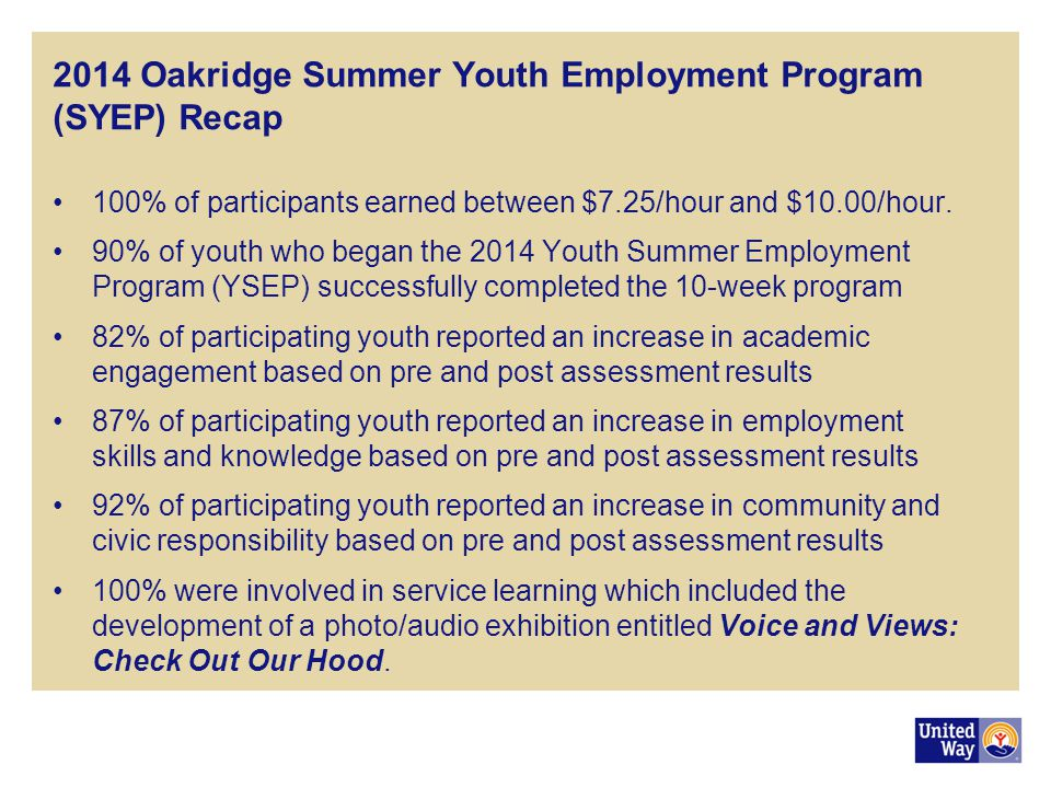 2014 Oakridge Summer Youth Employment Program (SYEP) Recap 100% of participants earned between $7.25/hour and $10.00/hour.