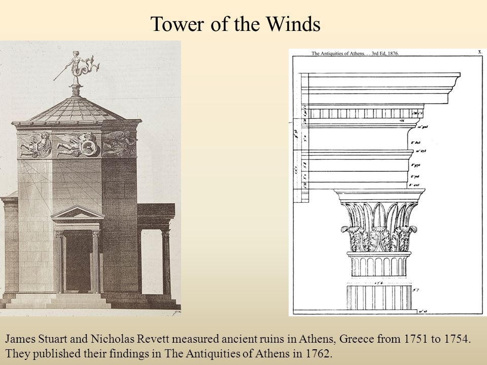 Tower of the Winds James Stuart and Nicholas Revett measured ancient ruins in Athens, Greece from 1751 to 1754.