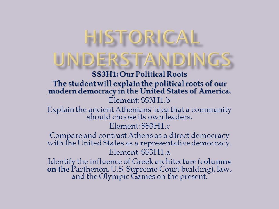 SS3H1: Our Political Roots The student will explain the political roots of our modern democracy in the United States of America.