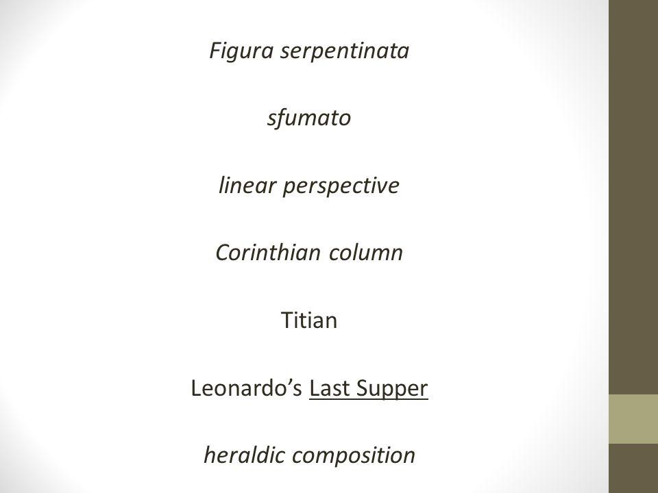 Figura serpentinata sfumato linear perspective Corinthian column Titian Leonardo's Last Supper heraldic composition