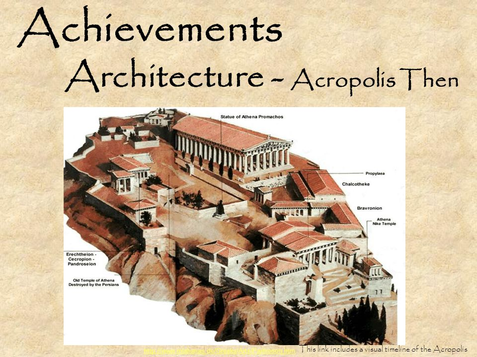 Achievements Architecture - Acropolis Then http://www.mlahanas.de/Greeks/Arts/Parthenon.htm This link includes a visual timeline of the Acropolis