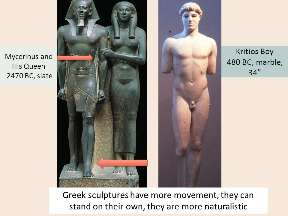 """Kritios Boy 480 BC, marble, 34"""" Mycerinus and His Queen 2470 BC, slate Greek sculptures have more movement, they can stand on their own, they are more"""