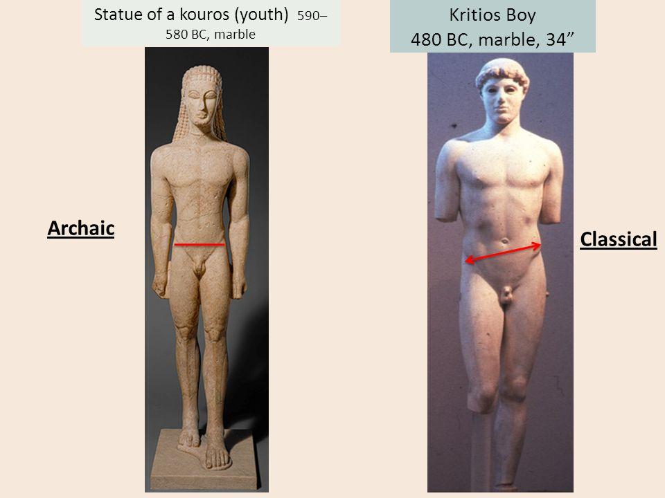 "Kritios Boy 480 BC, marble, 34"" Statue of a kouros (youth) 590– 580 BC, marble Archaic Classical"