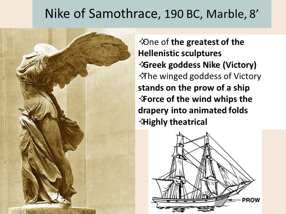  One of the greatest of the Hellenistic sculptures  Greek goddess Nike (Victory)  The winged goddess of Victory stands on the prow of a ship  Forc
