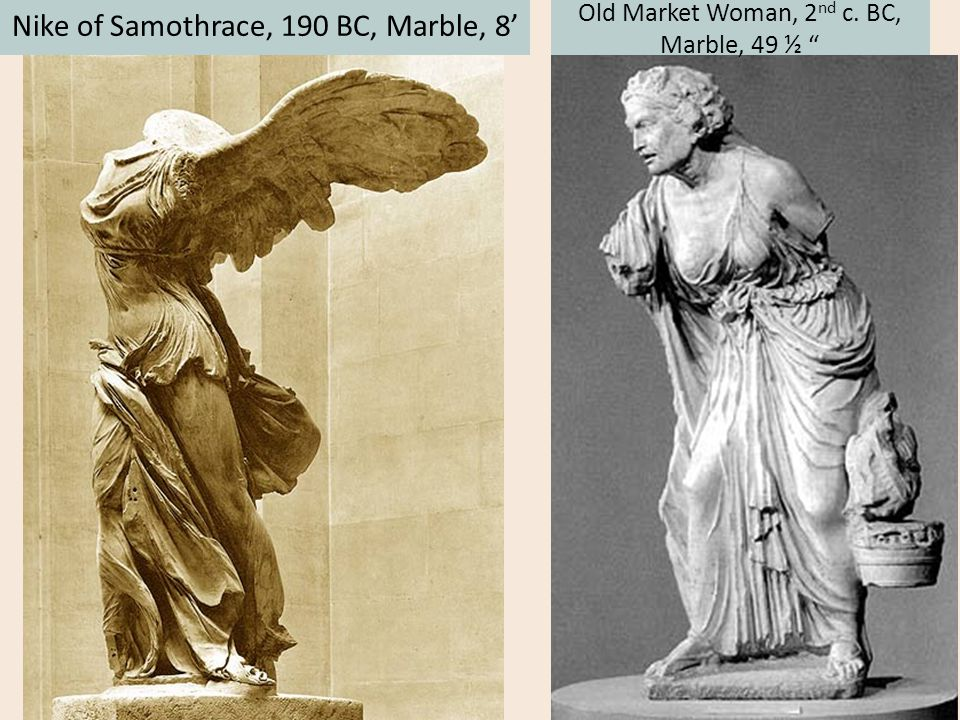 """Nike of Samothrace, 190 BC, Marble, 8' Old Market Woman, 2 nd c. BC, Marble, 49 ½ """""""