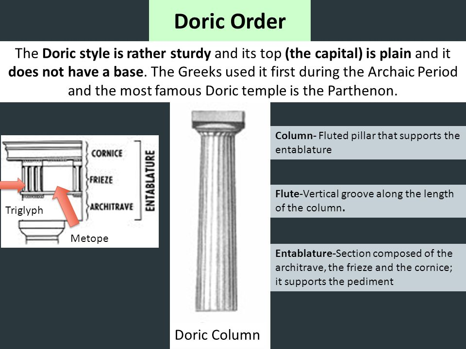 Doric Order The Doric style is rather sturdy and its top (the capital) is plain and it does not have a base. The Greeks used it first during the Archa