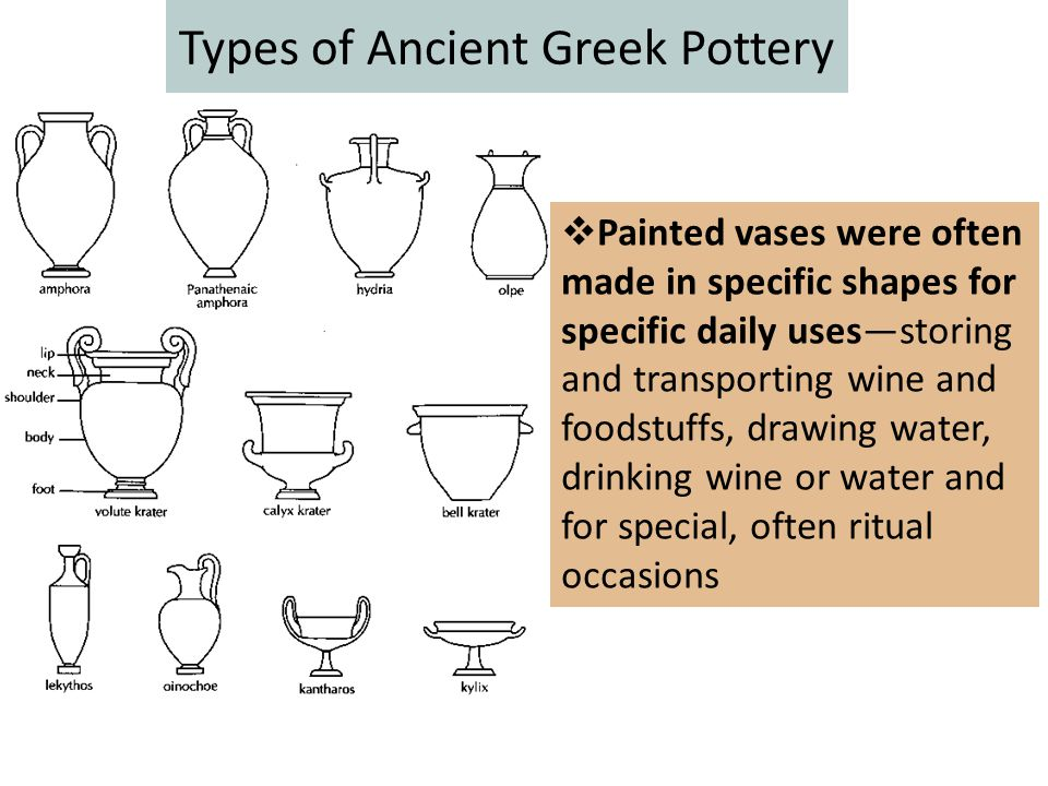 Types of Ancient Greek Pottery  Painted vases were often made in specific shapes for specific daily uses—storing and transporting wine and foodstuffs