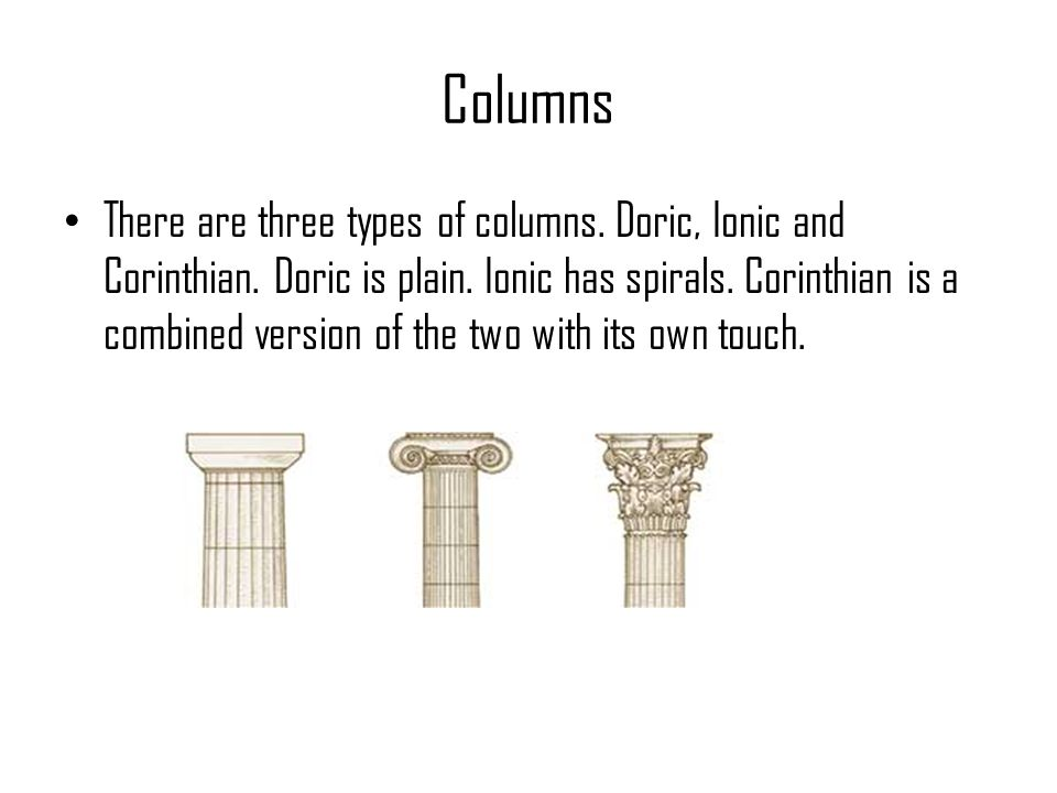 Columns There are three types of columns. Doric, Ionic and Corinthian. Doric is plain. Ionic has spirals. Corinthian is a combined version of the two