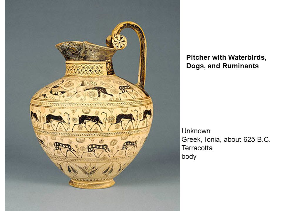 Unknown Greek, Ionia, about 625 B.C. Terracotta body Pitcher with Waterbirds, Dogs, and Ruminants