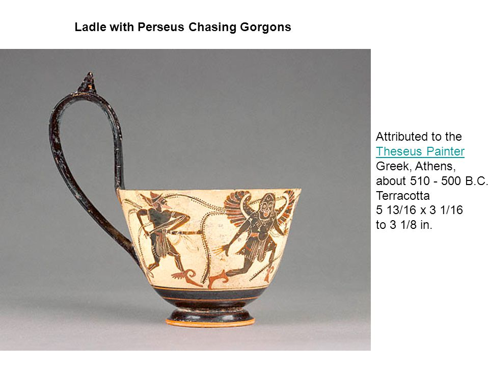 Ladle with Perseus Chasing Gorgons Attributed to the Theseus Painter Theseus Painter Greek, Athens, about 510 - 500 B.C.