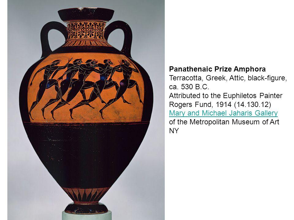 Panathenaic Prize Amphora Terracotta, Greek, Attic, black-figure, ca.