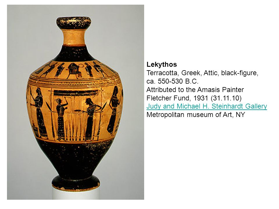 Lekythos Terracotta, Greek, Attic, black-figure, ca.