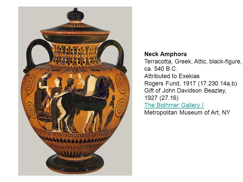 Neck Amphora Terracotta, Greek, Attic, black-figure, ca.