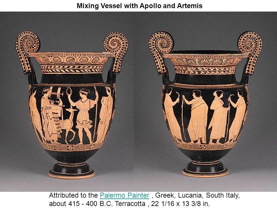 Mixing Vessel with Apollo and Artemis Attributed to the Palermo Painter, Greek, Lucania, South Italy,Palermo Painter about 415 - 400 B.C.