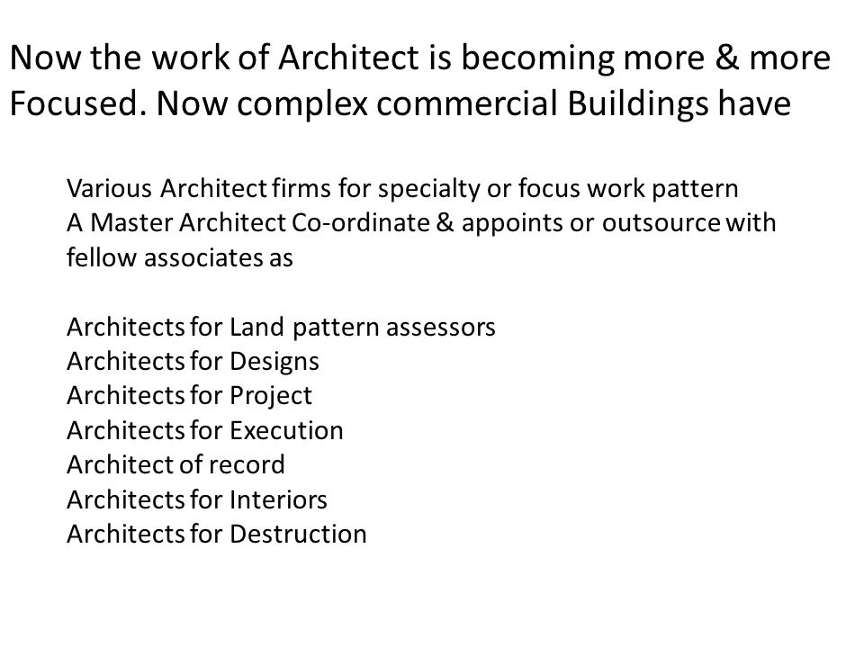 Now the work of Architect is becoming more & more Focused.