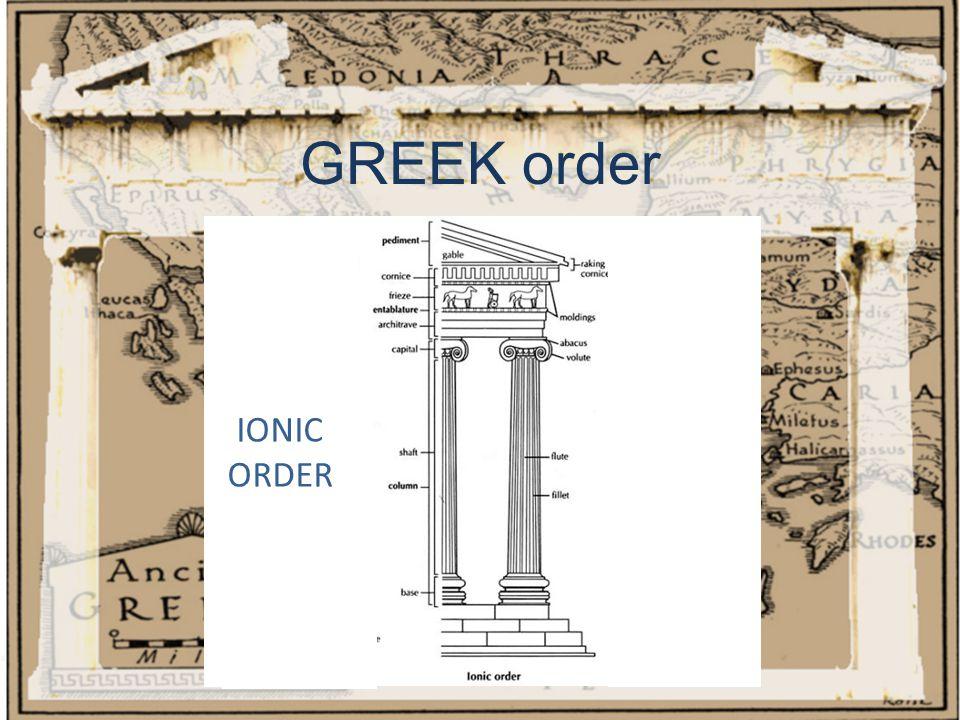 GREEK order IONIC ORDER