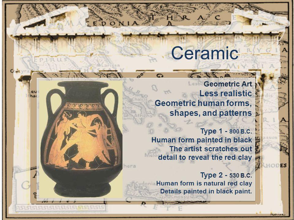 Ceramic Geometric Art Less realistic Geometric human forms, shapes, and patterns Type 1 - 800 B.C.