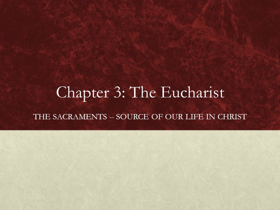 Chapter 3: The Eucharist THE SACRAMENTS – SOURCE OF OUR LIFE IN CHRIST