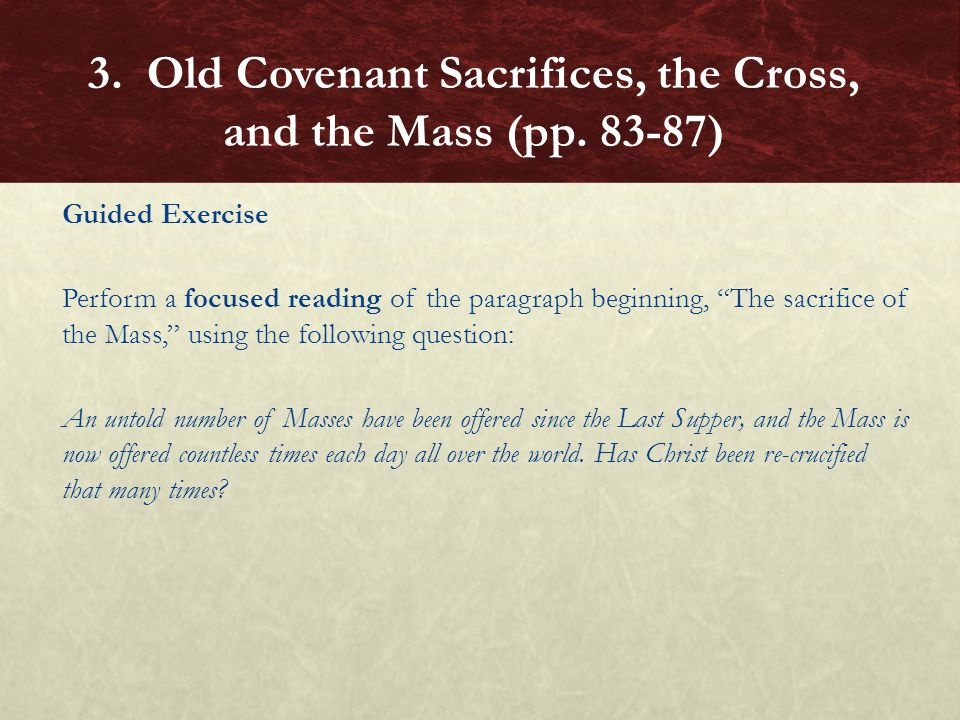 """Guided Exercise Perform a focused reading of the paragraph beginning, """"The sacrifice of the Mass,"""" using the following question: An untold number of M"""