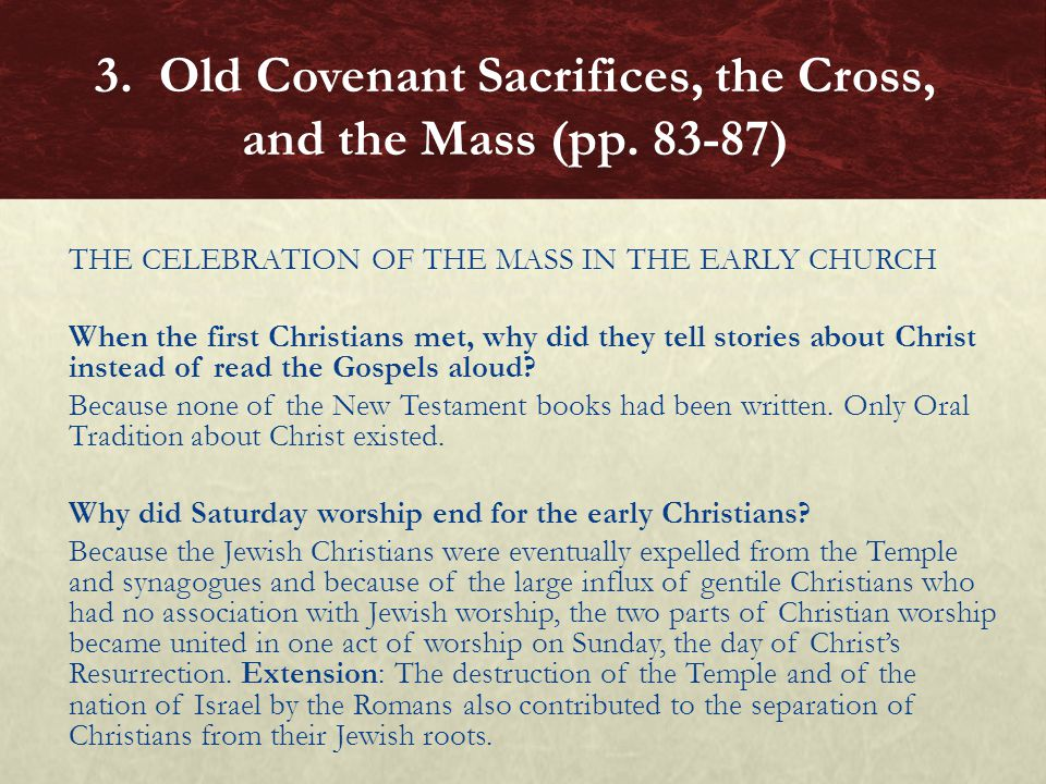THE CELEBRATION OF THE MASS IN THE EARLY CHURCH When the first Christians met, why did they tell stories about Christ instead of read the Gospels alou
