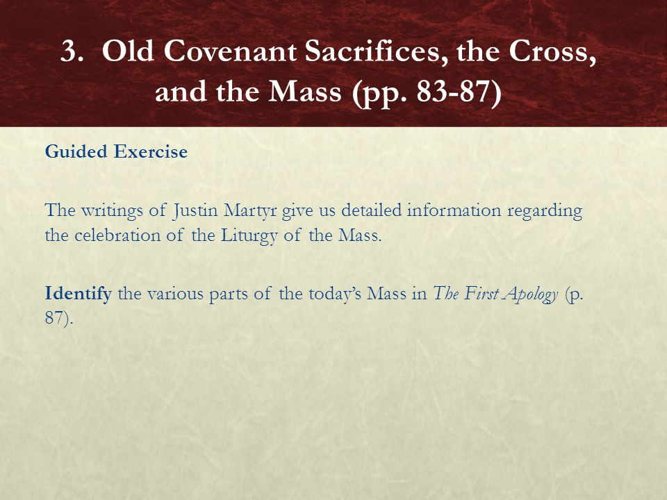 Guided Exercise The writings of Justin Martyr give us detailed information regarding the celebration of the Liturgy of the Mass. Identify the various
