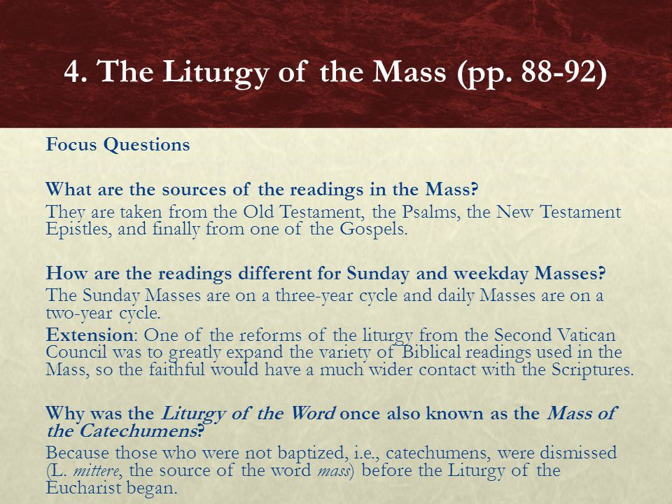 Focus Questions What are the sources of the readings in the Mass? They are taken from the Old Testament, the Psalms, the New Testament Epistles, and f