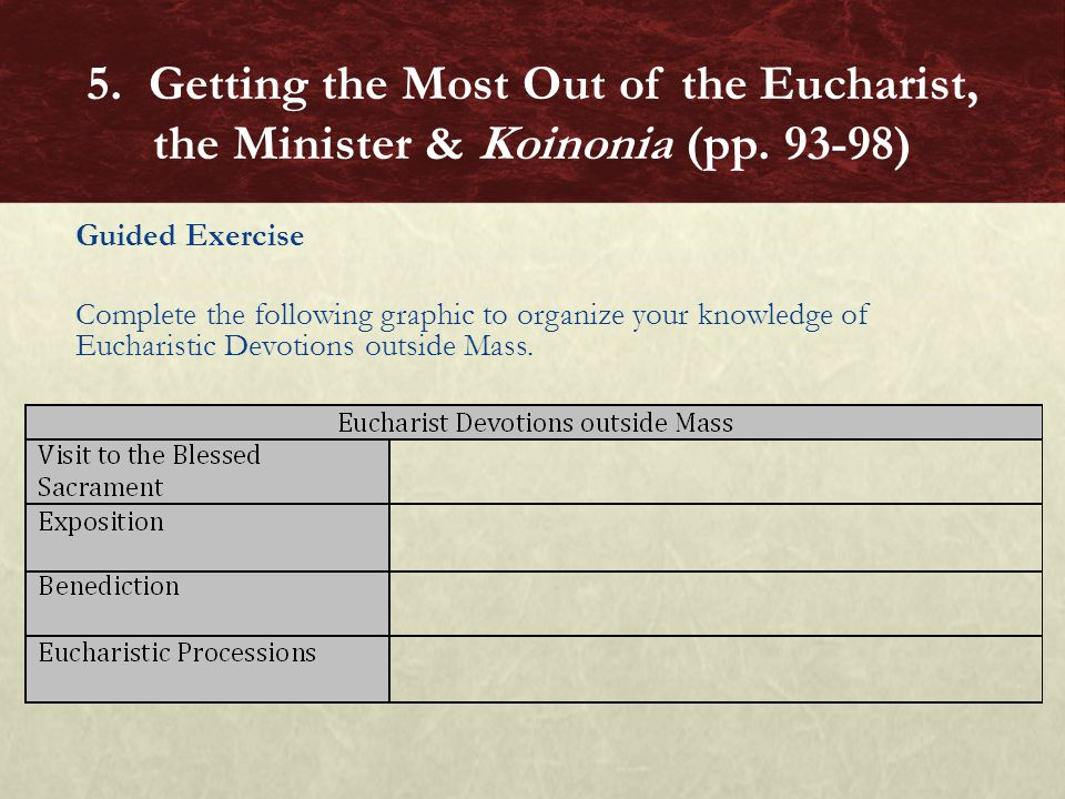 Guided Exercise Complete the following graphic to organize your knowledge of Eucharistic Devotions outside Mass. 5. Getting the Most Out of the Euchar