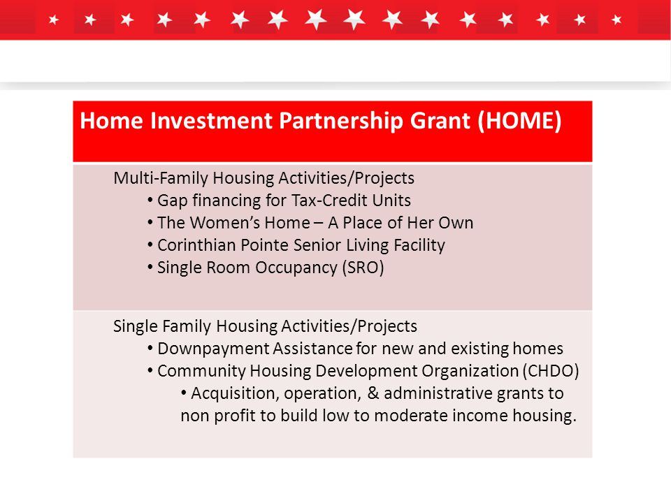 Home Investment Partnership Grant (HOME) Multi-Family Housing Activities/Projects Gap financing for Tax-Credit Units The Women's Home – A Place of Her Own Corinthian Pointe Senior Living Facility Single Room Occupancy (SRO) Single Family Housing Activities/Projects Downpayment Assistance for new and existing homes Community Housing Development Organization (CHDO) Acquisition, operation, & administrative grants to non profit to build low to moderate income housing.