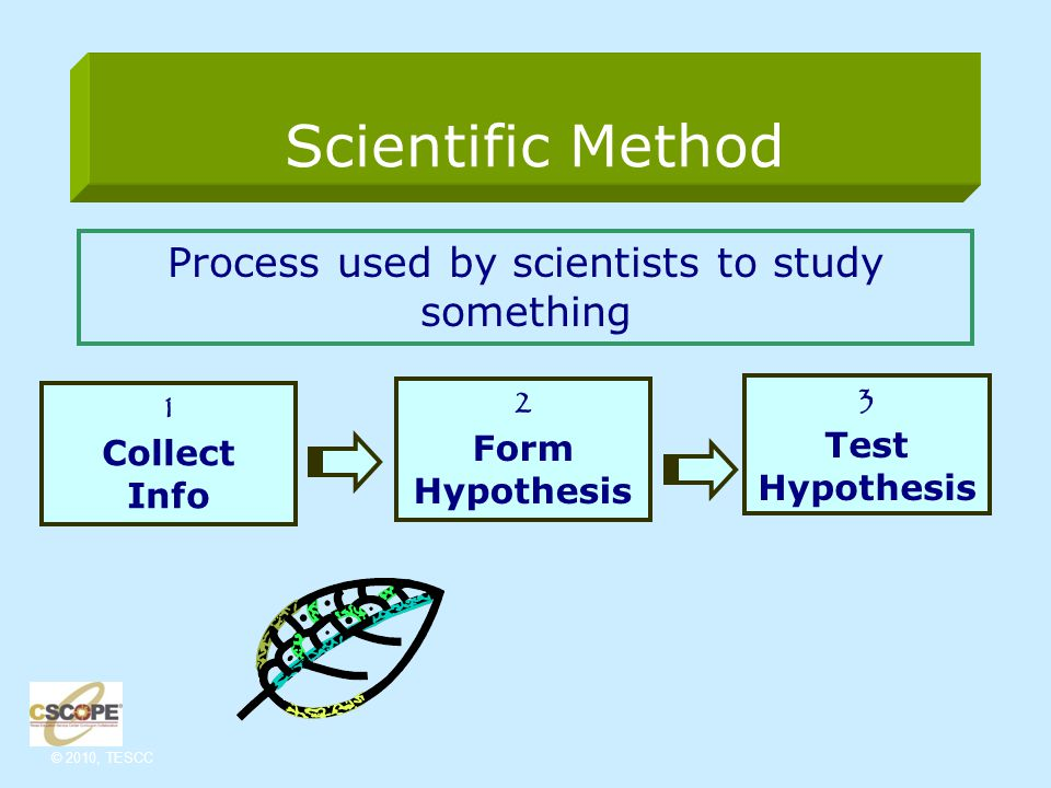 © 2010, TESCC Scientific Method Process used by scientists to study something 1 Collect Info 2 Form Hypothesis 3 Test Hypothesis