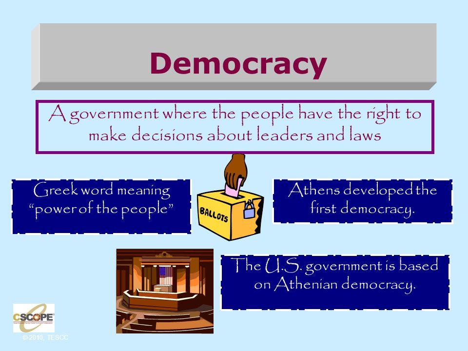 © 2010, TESCC Democracy in Athens - Athens had the first democratic constitution.