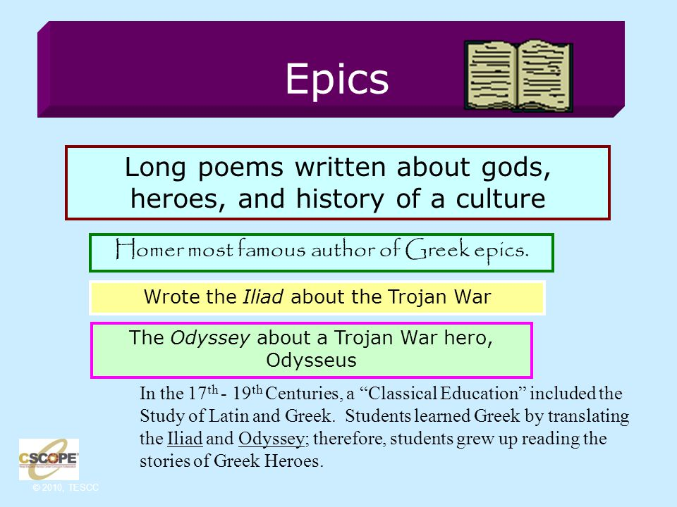 © 2010, TESCC Greek Mythology Myths are stories about gods & goddesses that were used to explain events in nature.