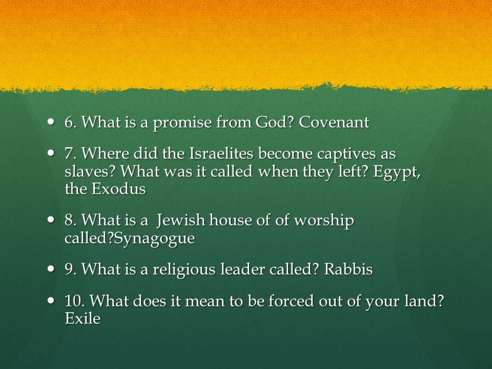 6.What is a promise from God. Covenant 6. What is a promise from God.