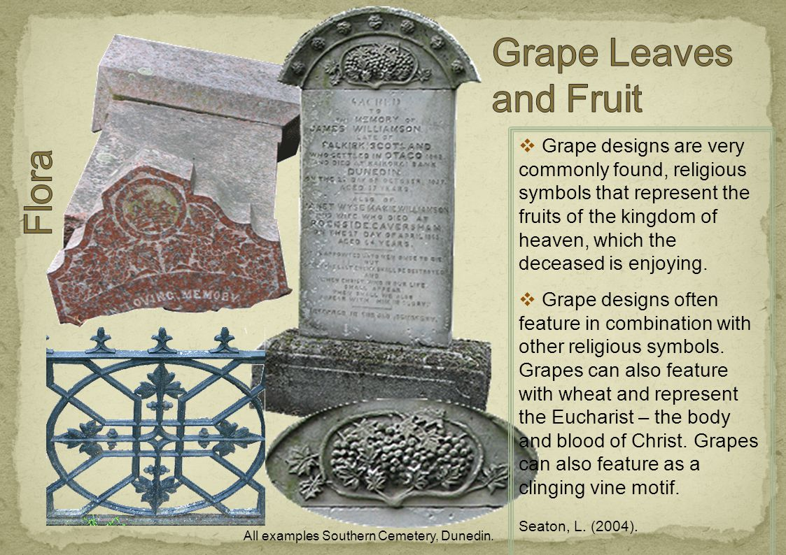 Grape designs are very commonly found, religious symbols that represent the fruits of the kingdom of heaven, which the deceased is enjoying.