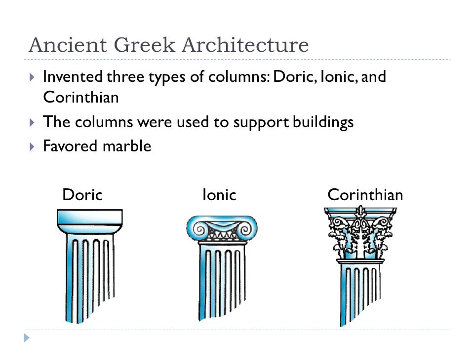 Ancient Greek Architecture  Invented three types of columns: Doric, Ionic, and Corinthian  The columns were used to support buildings  Favored marble Doric Ionic Corinthian