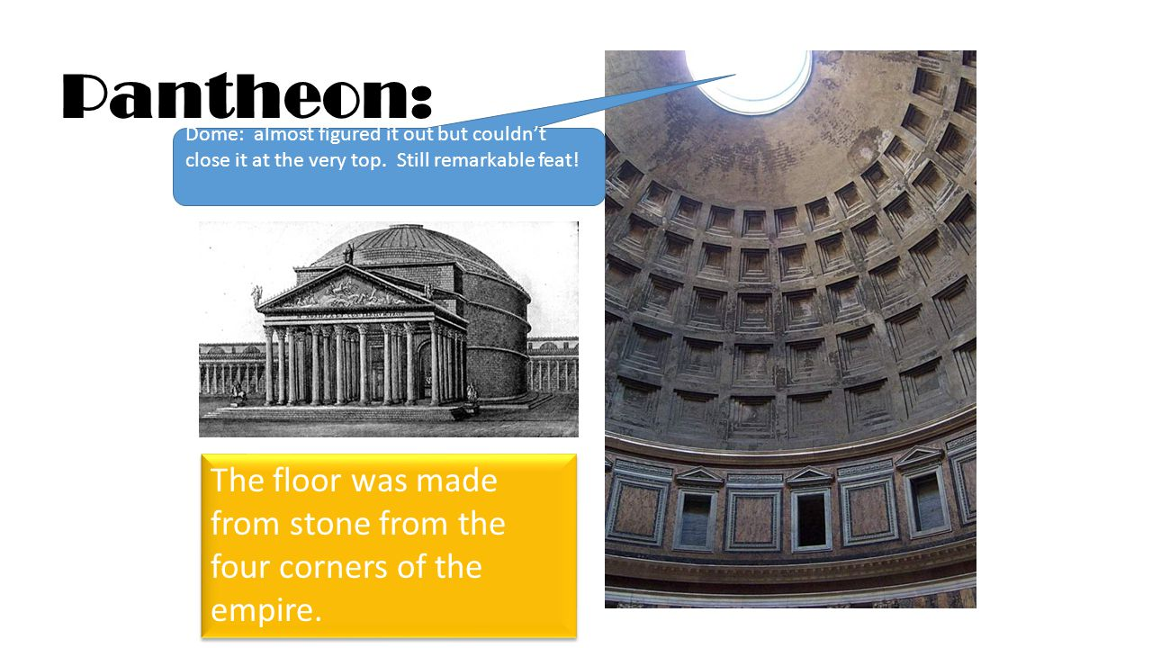 Pantheon: The floor was made from stone from the four corners of the empire.