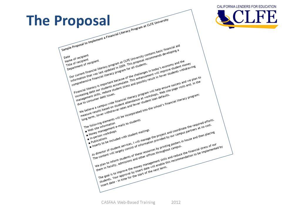 The Proposal CASFAA Web-Based Training 2012