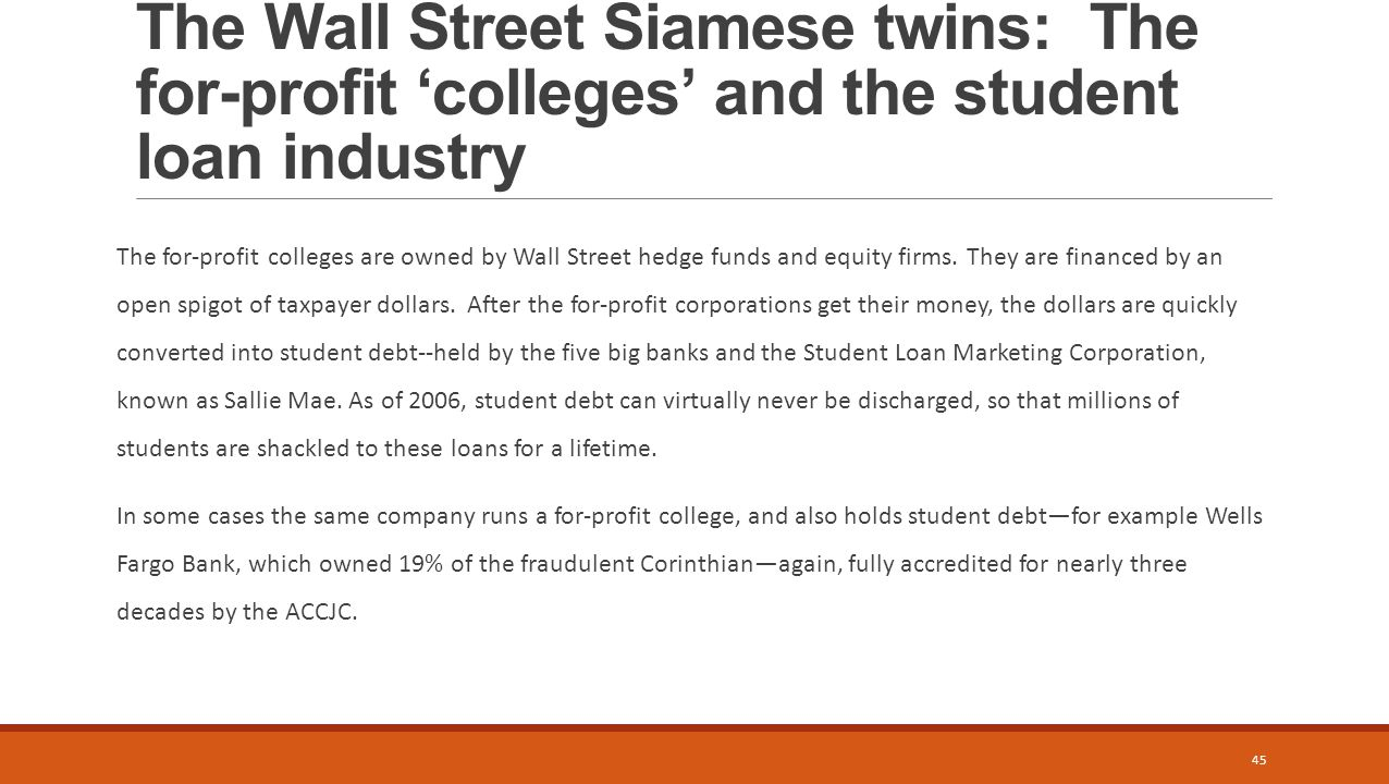 The Wall Street Siamese twins: The for-profit 'colleges' and the student loan industry The for-profit colleges are owned by Wall Street hedge funds and equity firms.