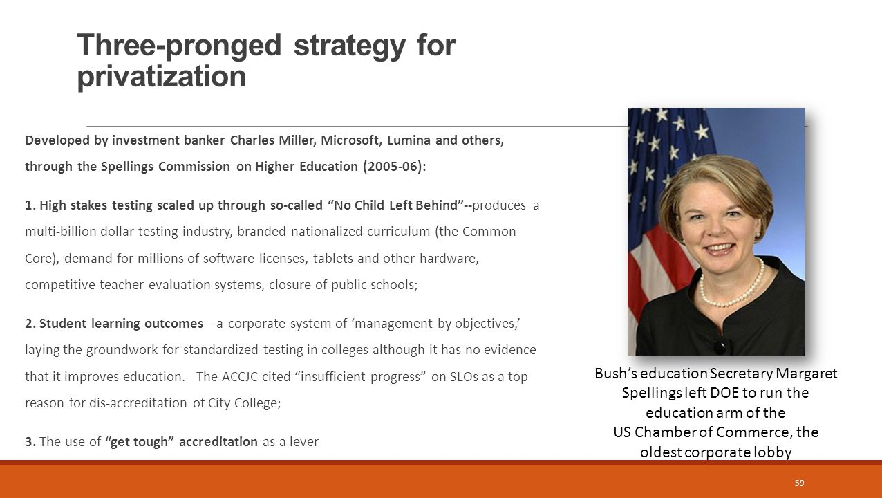Three-pronged strategy for privatization 59 Developed by investment banker Charles Miller, Microsoft, Lumina and others, through the Spellings Commission on Higher Education (2005-06): 1.