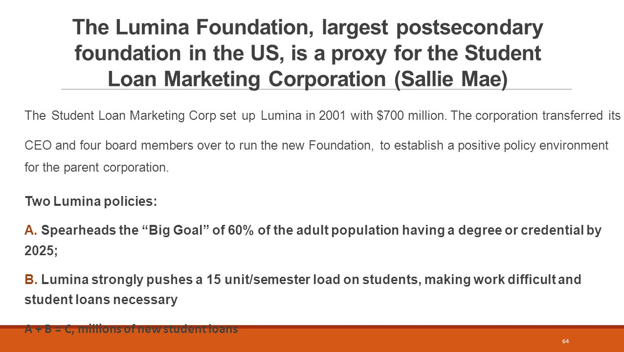 The Lumina Foundation, largest postsecondary foundation in the US, is a proxy for the Student Loan Marketing Corporation (Sallie Mae) The Student Loan Marketing Corp set up Lumina in 2001 with $700 million.