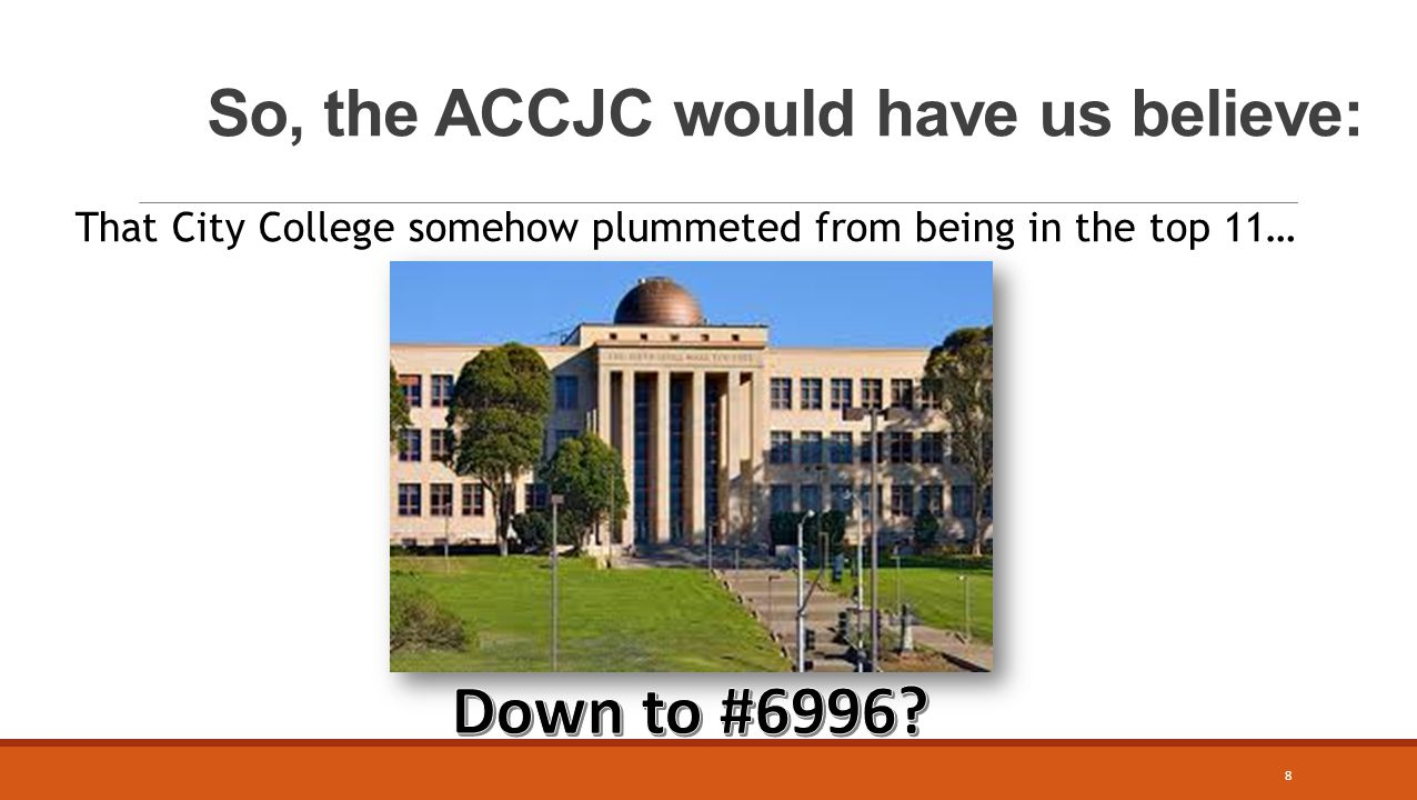 So, the ACCJC would have us believe: That City College somehow plummeted from being in the top 11… 8