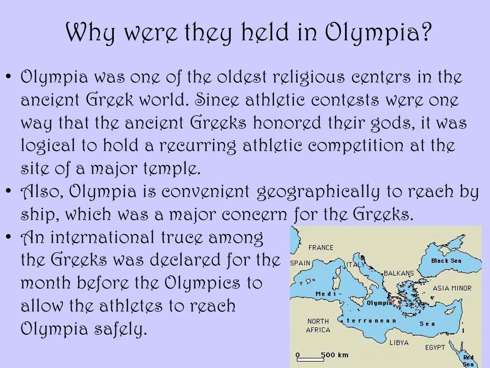 Olympia was one of the oldest religious centers in the ancient Greek world. Since athletic contests were one way that the ancient Greeks honored their