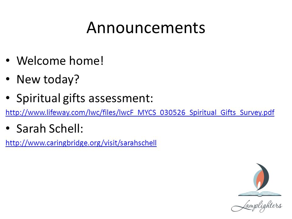 Announcements Welcome home. New today.